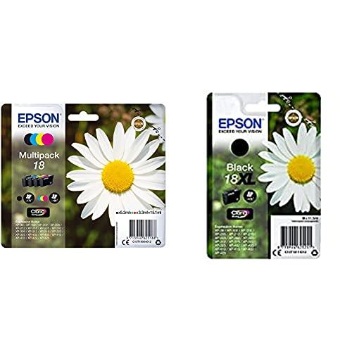 EPSON Encre N.C.M.J Multipack Alarme & C13T18114012 18XL Cartouche d'encre d'origine Claria Home Noir Amazon Dash Replenishment est prêt