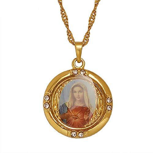 Venta al por mayor de la suerte esmalte de oro bendecida Virgen María colgante cadena sindergafter Girl S cristiano 15 de agosto