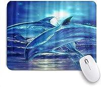 マウスパッド 個性的 おしゃれ 柔軟 かわいい ゴム製裏面 ゲーミングマウスパッド PC ノートパソコン オフィス用 デスクマット 滑り止め 耐久性が良い おもしろいパターン (ブルーオーシャンドルフィンプリントの海の動物)