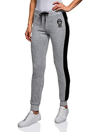 oodji Ultra Mujer Pantalones Deportivos con Inserciones, Gris, ES 38 / S