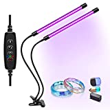 UV LED Black Light, 3 9 12H Timer, 10 Dimmable Levels, Dual Head SMD2835 54LEDs, 395-405nm LED Lamp for Dance Party, Glow in The Dark, Stage Lighting, Aquarium, Body Paint, Fluorescent Poster