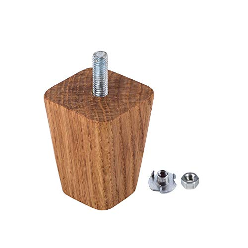 Gambe per mobili in legno di quercia, 4 pezzi, gambe per divano in legno, altezza 6 cm, piramide affusolata, piedini in legno massiccio (4, 6 cm di altezza)