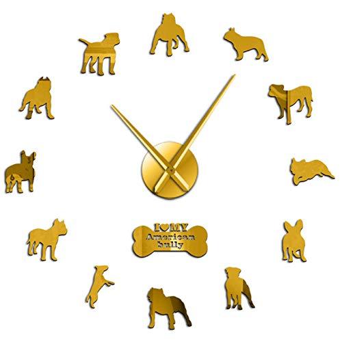 Bully DIY Reloj de Pared Gigante Raza de Perro Bully Pit Espejo acrílico Decorativo Arte de la Pared Pegatinas Reloj Grande sin Marco Moderno
