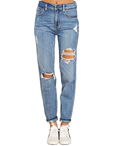 Women's Light Blue High Rise Destroyed Boyfriend Tapered Jeans Washed Distressed Ripped Broken Holes Casual Denim Pants Size Medium