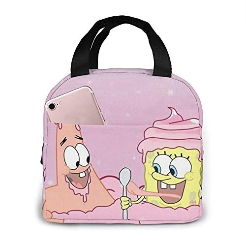 Spongebob Mangia gelato all'aperto isolato durevole scatola frigo pasto Spongebob mangia gelato borsa tote bag campeggio, viaggio, pesca per donna uomo bambini