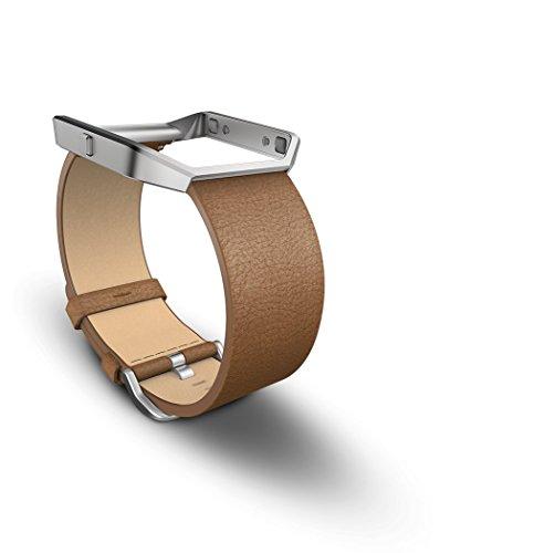 Fitbit Blaze - Correa de Cuero y Marco de Metal, Color Camel, Talla S