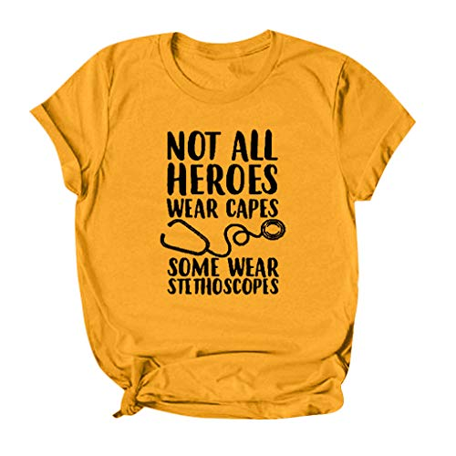 DAYPLAY Shirts for Women with Sayings Not All Heroes Wear Capes Some Wear Stethoscopes Tshirt Womens Tops Plus Size Tees Yellow