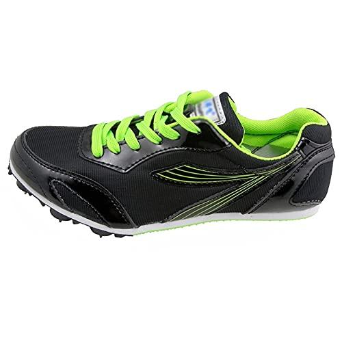 X/L Zapatos de Atletismo con Clavos para Hombres y Mujeres Calzado de Running Sprint Profesional para Niños y Niñas(Size:34 EU,Color:Negro)
