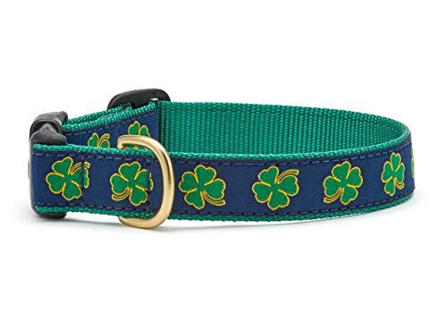 Up Country Navy Shamrock Pattern Dog Collars and Leashes (Navy Shamrock Pattern Dog Collar, Medium (12 to 18 Inches) 1 Inch Wide Width)
