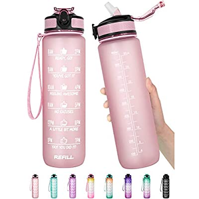 32 oz Motivational Water Bottle with Time Marker & Straw - BPA Free & Leakproof Tritian Frosted Portable Reusable Fitness Sport 1L Water Bottle for Men Women Kids Student to Office School Gym Workout (B6.Rose Pink)