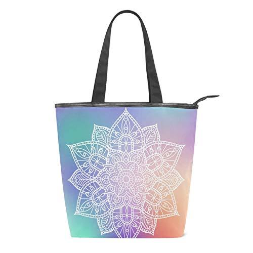 Bolsa de Lona con diseño de Mandala de Flores Blancas para Mujer, Colorida y Floral, para Escuela, Libro, para Llevar al Hombro, para IR de Compras, a la Playa, Viajes, al Gimnasio, Uso Diario
