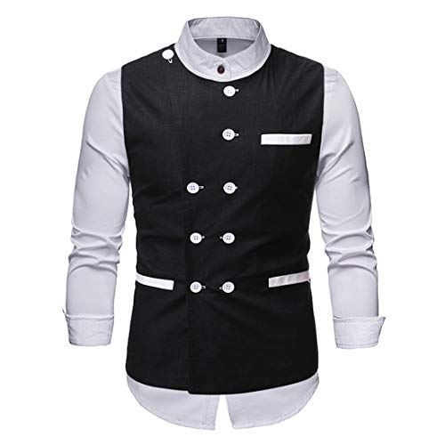 Shirt Men Tops Men Casual Comfortable Fashion Long Sleeve Button Men Tops Autumn New Double Breasted Business Casual All-Match Slim Temperament Men Shirt C-Black 3XL