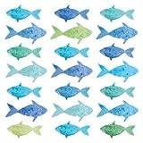 Home Collection Casa Cucina Decorazione Accessori Set 40 Tovaglioli Monouso Carta 3 veli 33 x 33 cm Motivo Pesci Multicolore