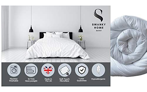 SWANKY HOME Premium Soft Luxurious Microfibre Duvet   Fine Hollowfibre Filling Duvets   Hypoallergenic Machine Washable Quilt   Winter Warm 15 Tog - Double Size