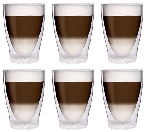 Filosa 6X 280ml XL doppelwandige Latte Macchiato-Gläser/Cocktailgläser/Eistee-Gläser/Saft- und Wassergläser - 6X 280ml edle Thermogläser mit Schwebeeffekt von Feelino