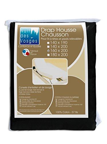 Nuit des Vosges 2106237 Cotoval Drap Housse TPR Uni Coton Noir 160 x 200 cm