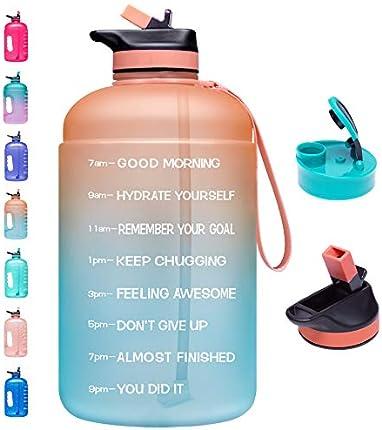 Venture Pal - Botella de agua grande de 1 galón con 2 tapas (trago y pajita), a prueba de fugas, sin BPA, con marcador de tiempo para garantizar que bebes suficiente agua durante todo el día