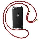 TBOC Funda para iPhone 7 Plus [5.5'] - Carcasa Transparente con Cuerda [Roja] para Móvil Cordón Ajustable Práctico Collar de Moda Cadena para Cuello Resistente Arañazos