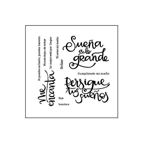 Palabra española DIY Silicona Claro Sello Cling Seal Scrapbook Gofrado Decoración Álbum Tarjeta de papel Artesanía Gofrado