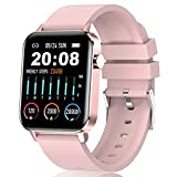 Android Women Smart Watch , IP68 Waterproof 1.4' Full Touch Fitness Trackers with Heart Rate Blood Oxygen Blood Pressure Sleep Monitor, Message Notification Pedometer Ladies Sports Watch for iOS Pink