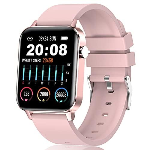 Smartwatch para Hombre y Mujer,  Impermeable IP68 Reloj Inteligente con Pulsómetro Cronómetros Calorías Monitor de Sueño Podómetro Pulsera Actividad Inteligente Reloj deportivo para Android iOS (Rosa)