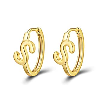 Initial Hoop Earrings Letter S Alphabet Earrings 14K Real Gold Plated Personalized Jewelry for Women