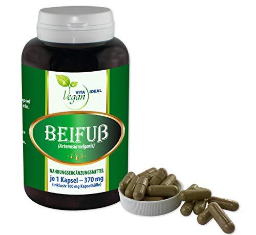 VITAIDEAL VEGAN® Beifußkraut (Beifuß, Artemisia vulgaris) 180 Kapseln je 370mg, rein natürlich ohne Zusatzstoffe.