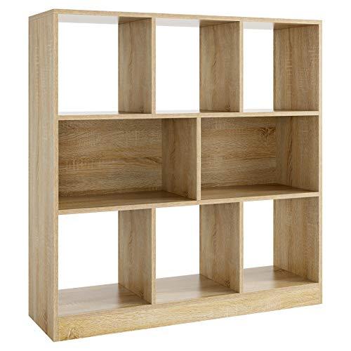 Estantería Cubos Librería Estantería Roble Estantería para Libros Madera con 8 Compartimentos para Salón Estudio Oficina Entrada Pasillo 97.5x30x100cm