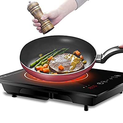 SUPER DEAL Pro Induction Cooktop, 1800W Induction Cooker w/Wide Cookware Compatibility Induction Touch-Control Countertop Burner with Adjustable 8 Power/Temperature Settings
