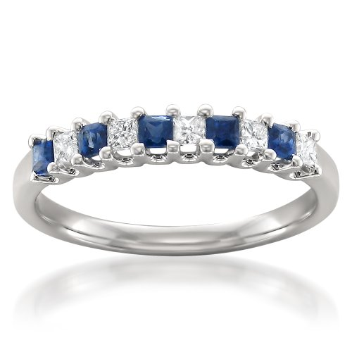 La4ve Diamonds 14k White Gold Princess-Cut Diamond & Blue Sapphire Bridal Wedding Band Ring (1/2 cttw, H-I, I1-I2), Size 10.5