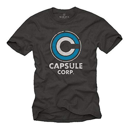 MAKAYA Capsule Corp T-Shirt Herren Anime Geschenke Goku Fans Grau Größe M