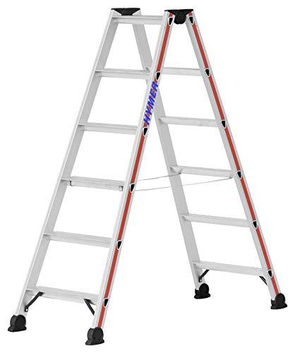 Hymer Stufenstehleiter 2x6 Stufen (Trittleiter beidseitig begehbar, eloxierte Holme, Stahl Scharniere) 402412