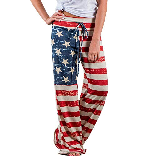 Women's Causal USA Flag Loose Palazzo Trousers, Sizes 6 to 16