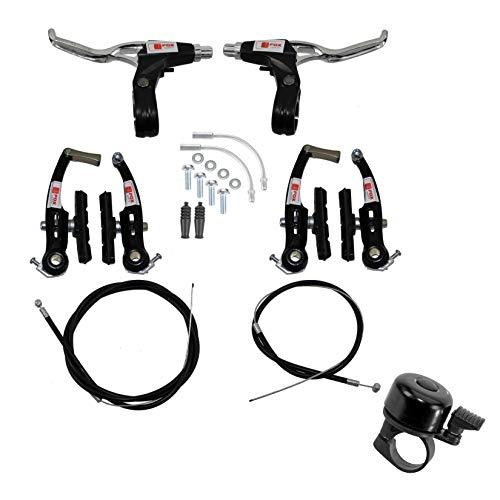 maxxi4you - Juego de frenos V-Brake para bicicleta, color negro, incluye 1 campana