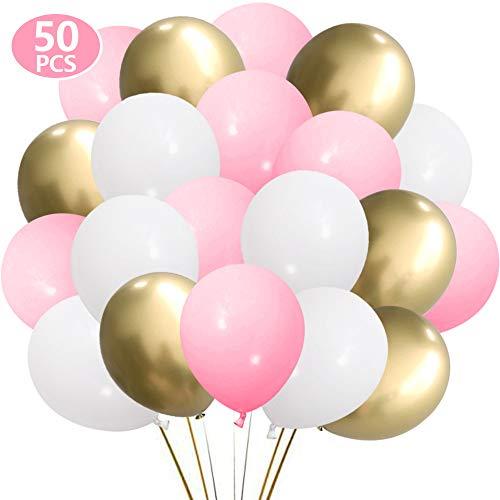 Helium Luftballon SKYIOL Rosa Pink Gold Weiß Latex Geburtstag Hochzeit Ballons als Party Feier Dekorationen für Kinder Mädchen Baby Shower Abschluss, 50 Stück 30 cm