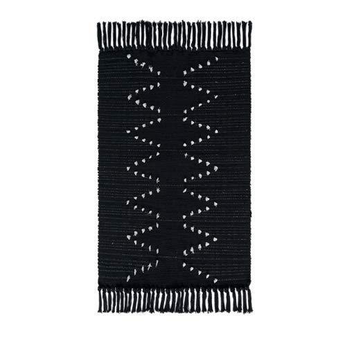 Cetticii | Tapis berbère Noir et Beige à Franges, 60 x 90 cm, Tapis Style bohème, Ethnique, scandinave et Nordique.