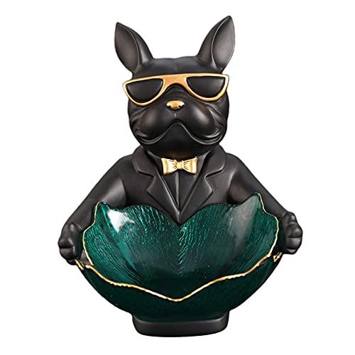 MagiDeal Bulldog Estatua Escultura de Resina Decoración del hogar Bandeja de Almacenamiento Junto a la Cama Caja de Almacenamiento Organizador de Cuencos - Negro