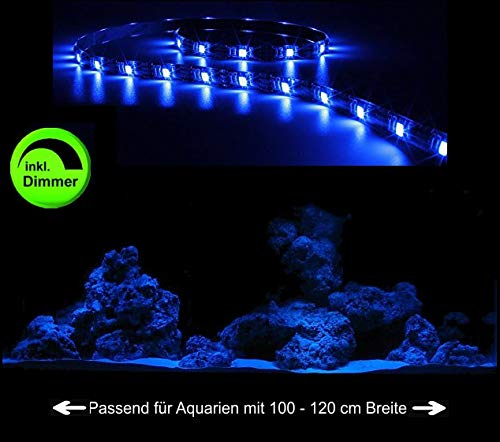 Creative Lights Aquarium Mondlicht, LED LICHTLEISTE 90 cm + DIMMER Komplettset Flexi-Slim BLAU
