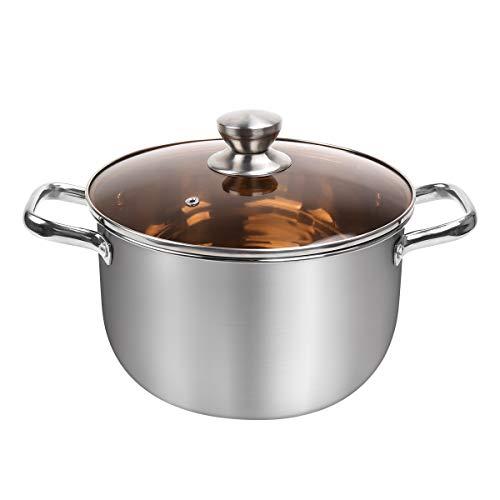 Outamateur Stock Pot 8QT, Stainless Steel Stockpot Soup Pasta Pot, Double Heatproof Handles, Non Toxic & Healthy, Easy Clean & Dishwasher Safe (8QT)