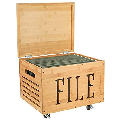 TQVAI Natural Bamboo Rolling File Cabinet with Lid Hanging Filing Sliding Office Organizer