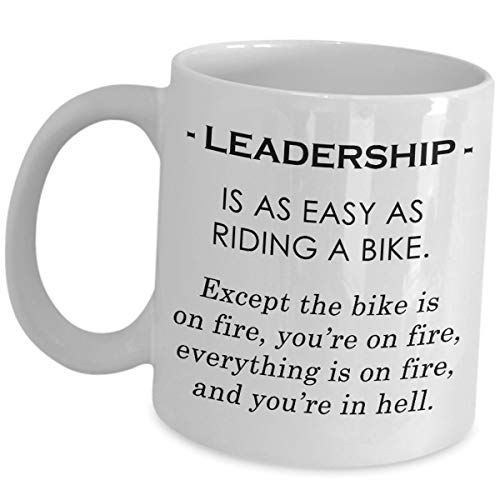 Funny Cute Gag Gifts for Assistant Manager - Leadership Is As Easy As Riding A Bike - Asst Mngr Coffee Mug Tea Cup Thank You Appreciation Regional Management Company Office Managerial Employee