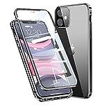 Funda para iPhone 11 Adsorption Magnetica,360° Protección Completa [con Protector de Lente de Cámara] del Cuerpo Marco De Metal + Vidrio Templado Transparente Frontal Y Posterior,Negro