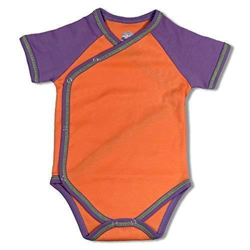 Mama Ocllo - Bebé Body, Manga Corta, Bio Pima Algodón, Ducha para Bebé, Nacimiento, Naranja - Naranja/Ciruela, 4-7 Monate