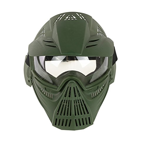 YASHALY Airsoft Mask, Adjustable Full Face Army Military Tactical Gear with Goggle Eye Protection for Paintball CS Game BB Gun and Party (OD)