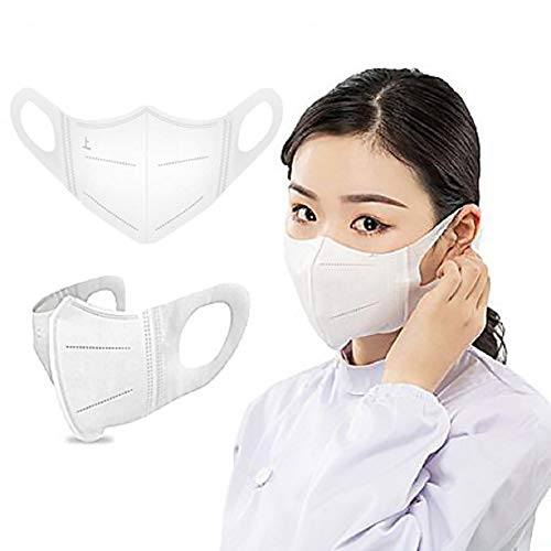 Gokeop 3D Disposable Face_Masks for Unisex Adults, Elastic Cloth Ear Straps Breathable and Soft Face Bandanas for Daily Use, Sports and Parties Individual Package (100Pcs, M (10-16 years old))