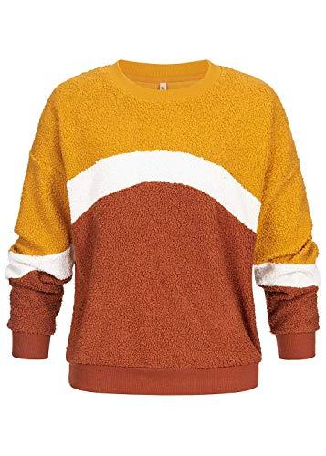 Hailys Damen Pullover Colorblock Sweater Teddyfell Pulli Curry gelb, Gr:L