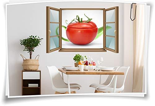 Wand-Tattoo Wand-Bild Fenster Tee-Kanne Tomate Frucht Tea-Time Früchte Aufkleber Folie Deko Wohnzimmer Küche Folie Digitaldruck, 150x97cm wb22wb201-124555