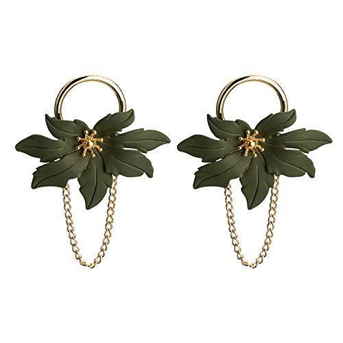 zhengyang Pendientes de corona de moda vintage de cristal bohemio, grandes pendientes para mujer, pendientes de flor verde, pendientes de corona (color metal: chapado en plata)