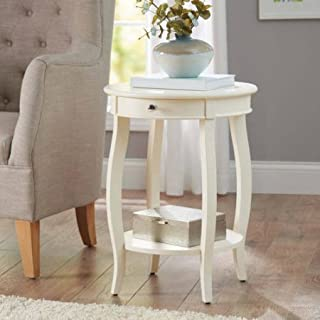 Better Homes and Gardens Round Accent Table with Drawer, Multiple Colors (Ivory) (Ivory)
