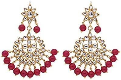Aheli Indian Faux Kundan Dangle Earrings with Red Drop Beads Wedding Party Ethnic Fashion Jewelry product image